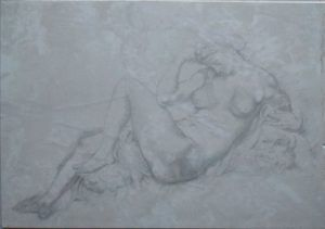 """Copy of """"The Night"""" by Miguel Angel according to Rubens, pencil on stone"""